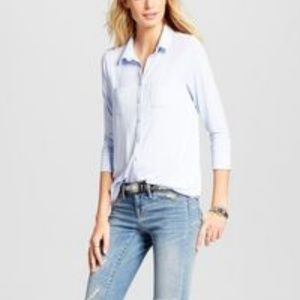 Merona Button Down Top Bauble Blue New Small